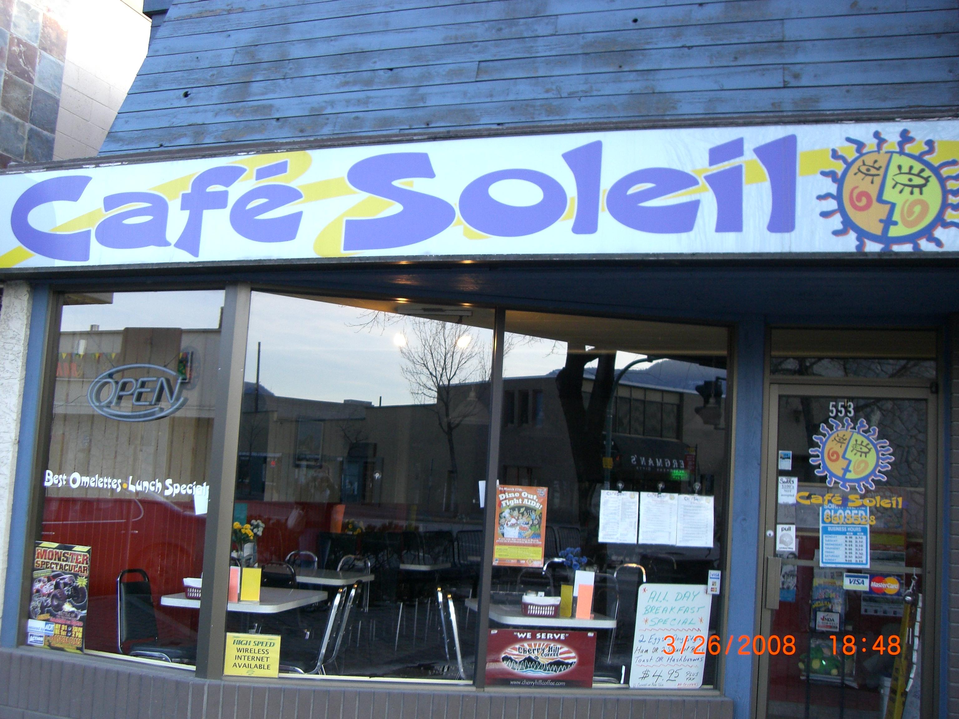 Cafe Soleil Breakfast Menu
